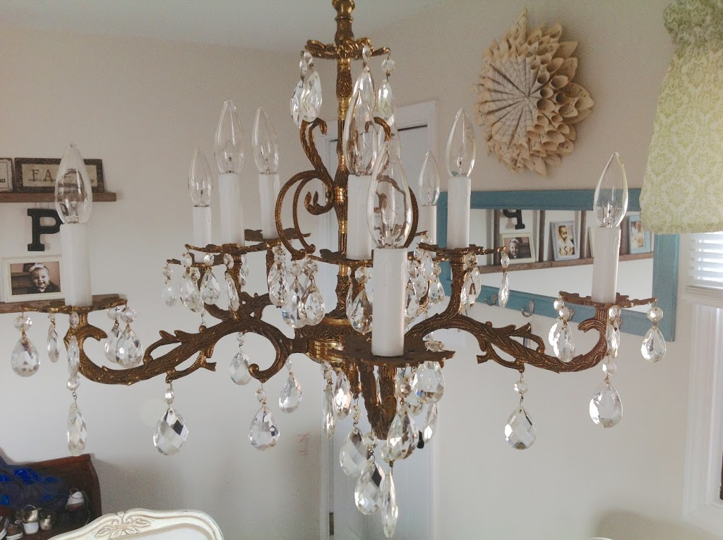 Miss spanish brass crystal chandelier now visible shades of and a pretty chandelier i actually spend a little more time making sure the table is always clean almost always and the floor is swept more often aloadofball Image collections
