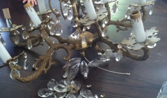 Miss Spanish Brass & Crystal Chandelier- Now Visible!