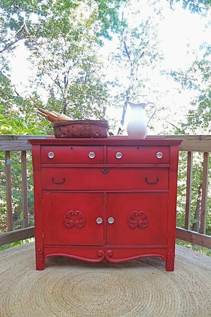 A Red Country Cabinet And How To Repair Wood Applique