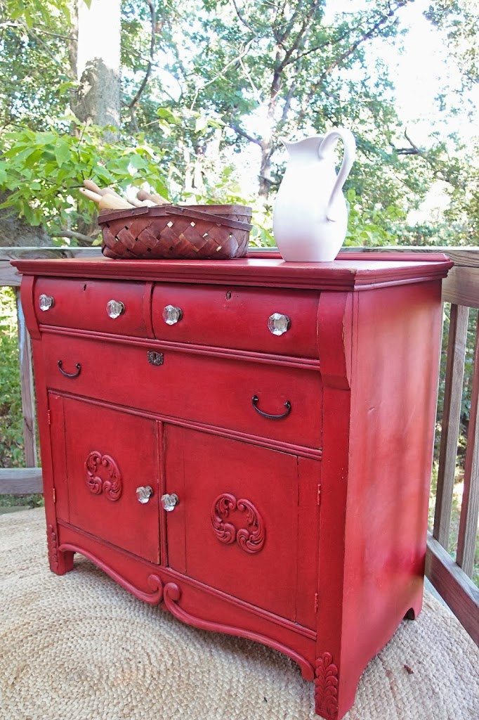 A Red Country Cabinet And How To Repair Wood Applique   Shades Of Blue  Interiors