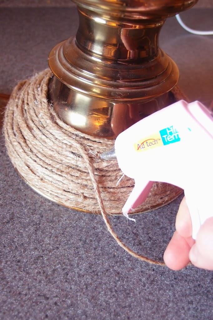 Gluing jute twine on thrift store brass lamp base