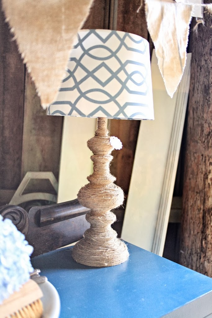 Finished jute twine wrapped lamp base with blue moroccan lamp shade