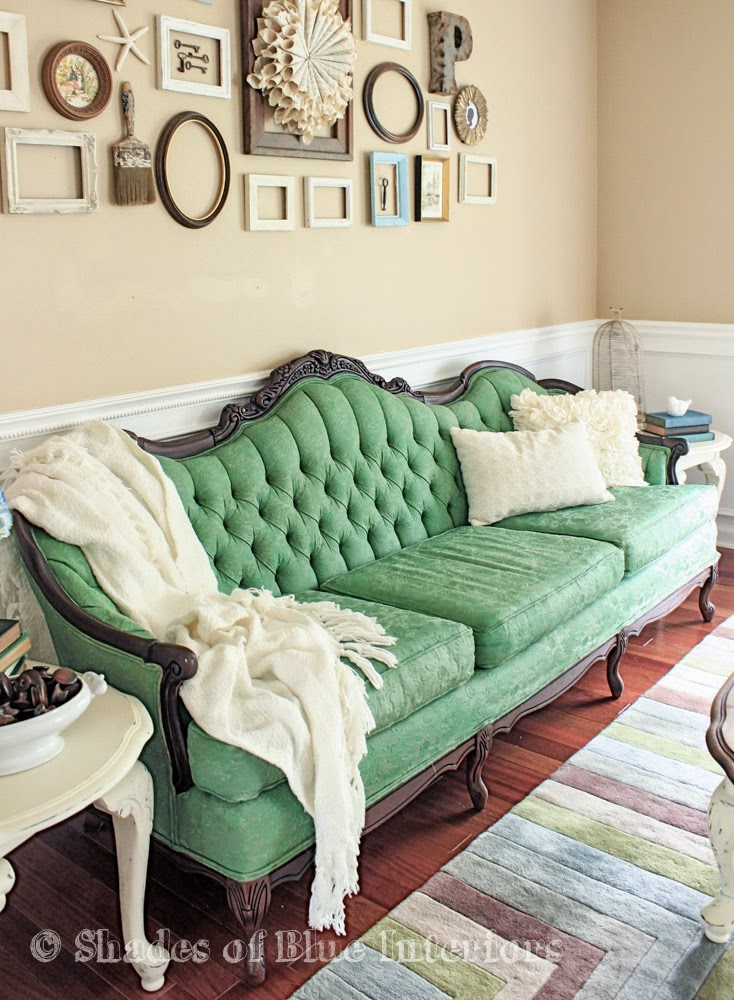 Makeover Monday Green Painted Sofa
