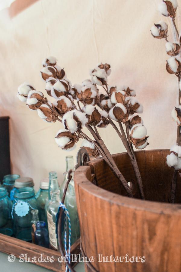 Cotton stems and vintage blue bottles - Vintage Market