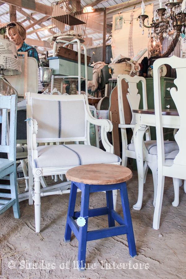 French painted chair and a blue stool