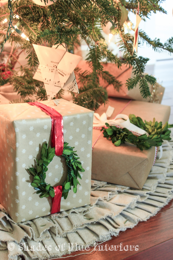 Boxwood wreaths on gifts