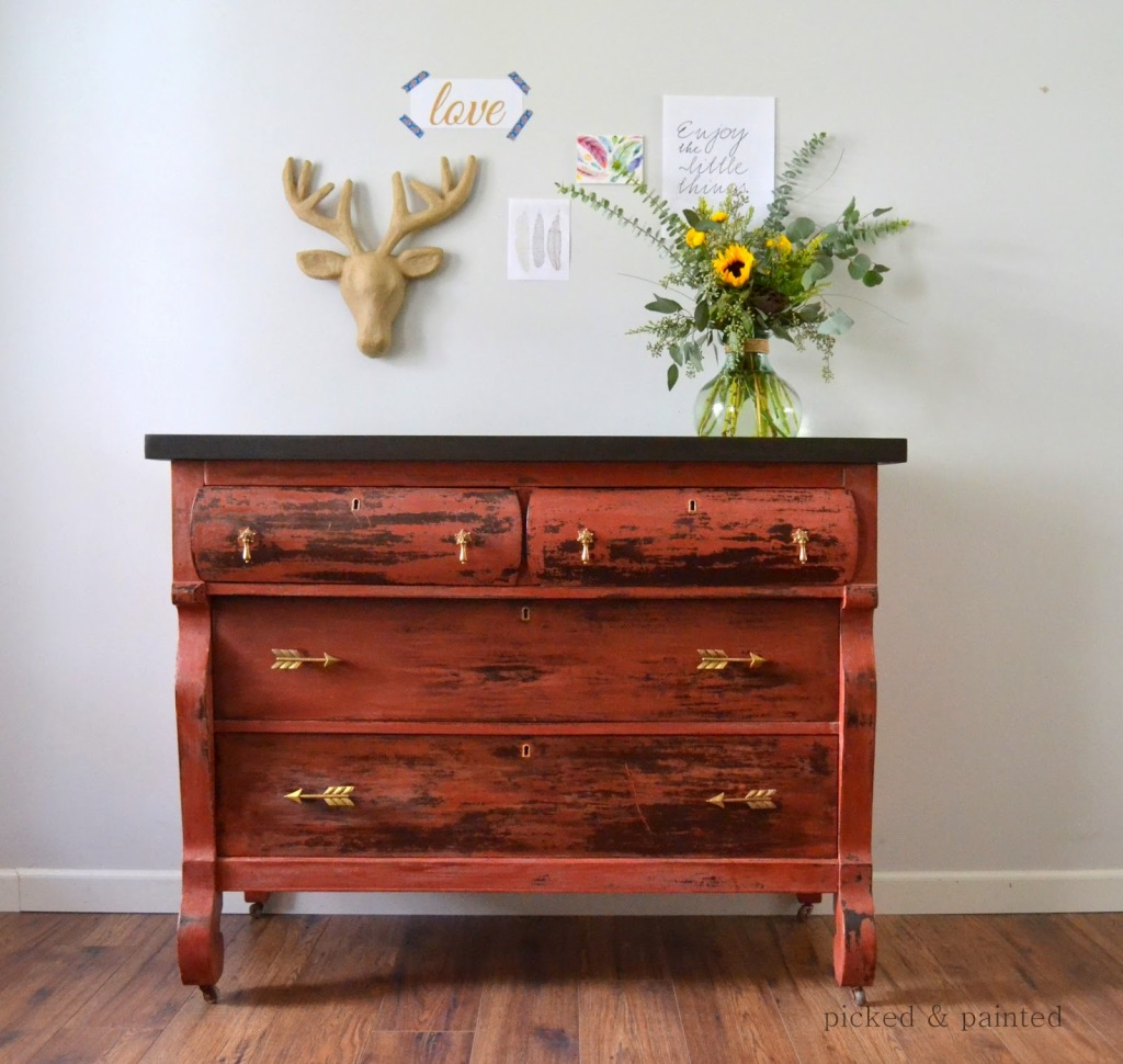 salem red old fashioned milk paint picked and painted empire dresser