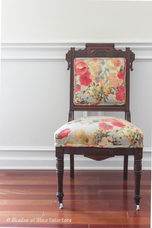 Eastlake chair with modern floral fabric upholstery - Makeover Monday: Eastlake Chair With Floral Fabric