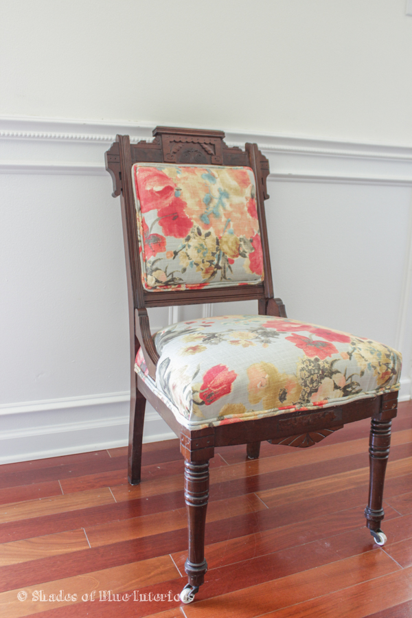Eastlake Chair With Modern Floral Fabric Upholstery