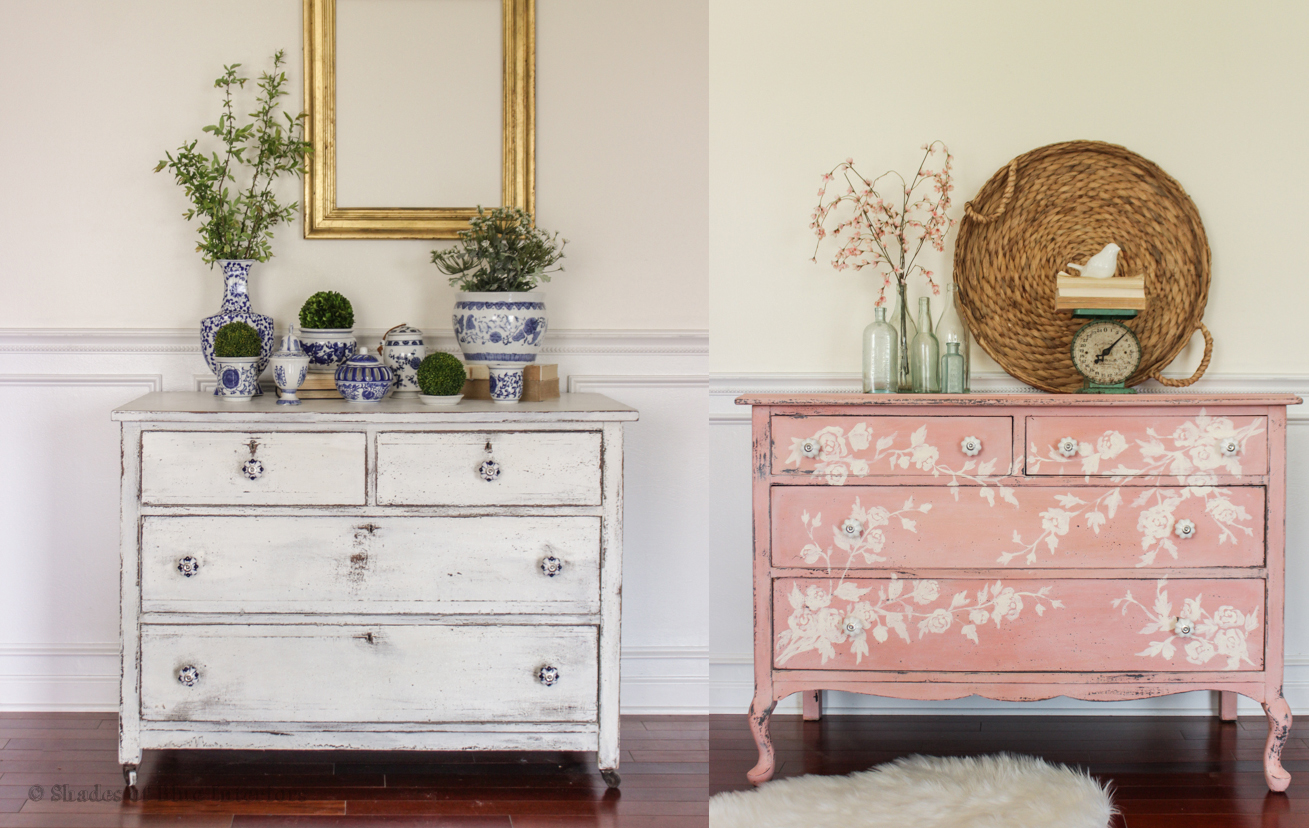 pink floral dresser white chippy dresser with decorsteals knobs shades of blue interiors. Black Bedroom Furniture Sets. Home Design Ideas