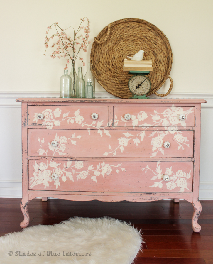 Vintage dresser makeover with floral hand painted design