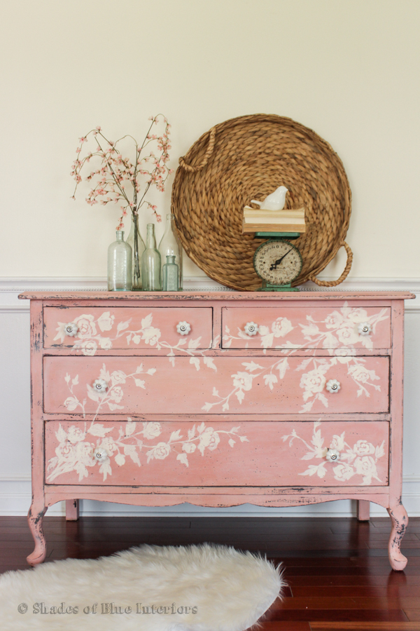 Pink floral hand painted dresser