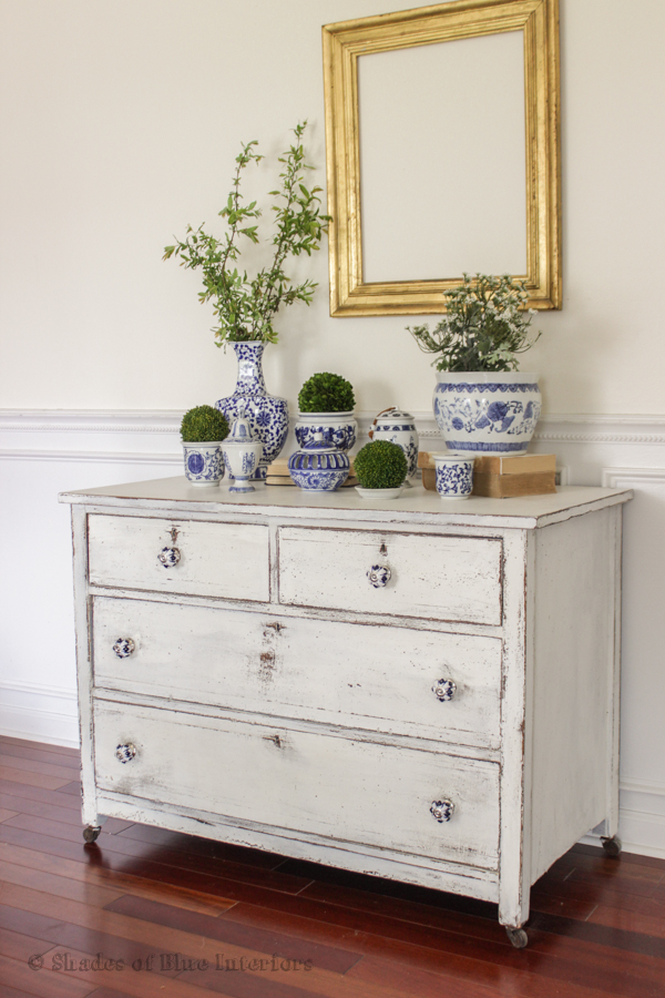 White chippy painted dresser