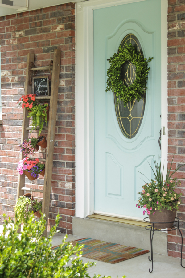 Boxwood wreath on front door