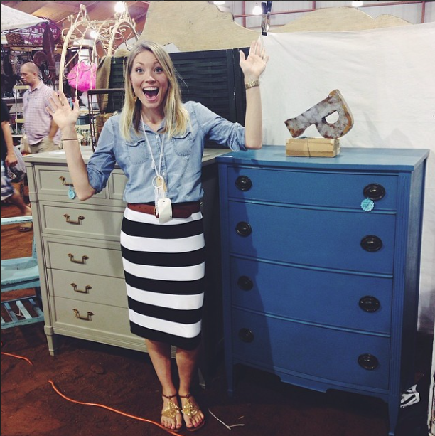 Rachel with Shades of Blue Interiors elated over selling two highboy dressers, a gray one and blue one.