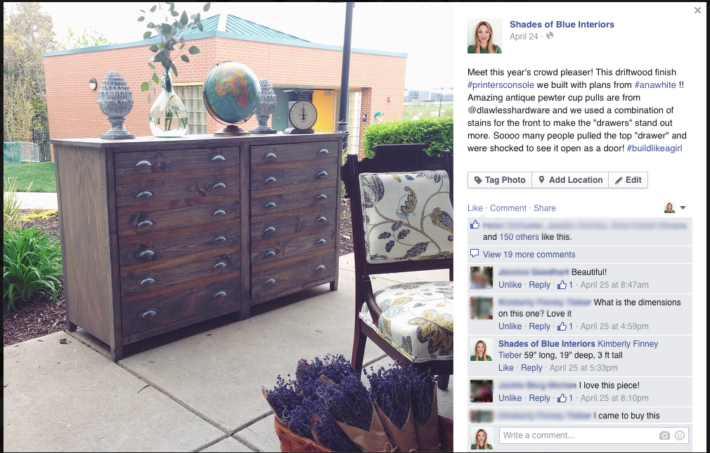 Screen shot of Facebook post of printer's cabinet sold at VMD.