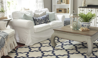 Blue and White in the Living Room + A Rug Pad Giveaway