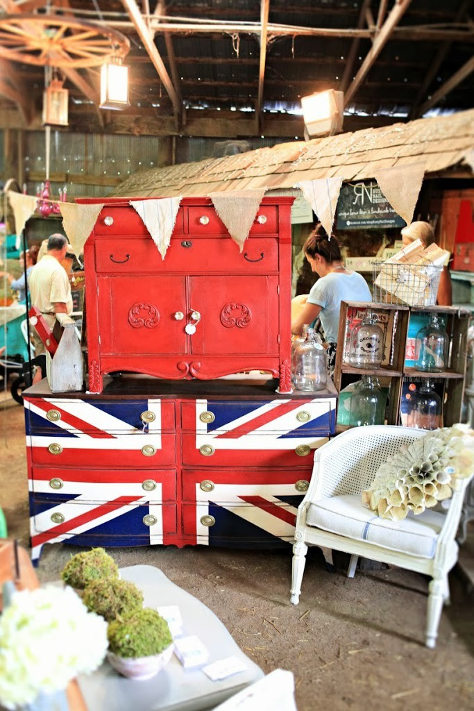 Red dry sink on top of a hepplewhite dresser painted with the Union Jack design