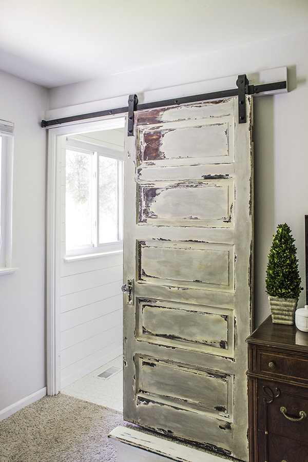 Master bathroom barn door shades of blue interiors - Installing a lock on a bedroom door ...