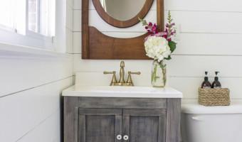 Small Master Bathroom Vanity + Free Plans!