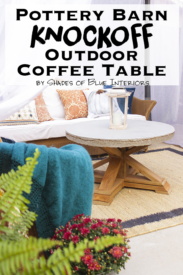 Pottery Barn Knockoff Outdoor Coffee Table with Free Plans