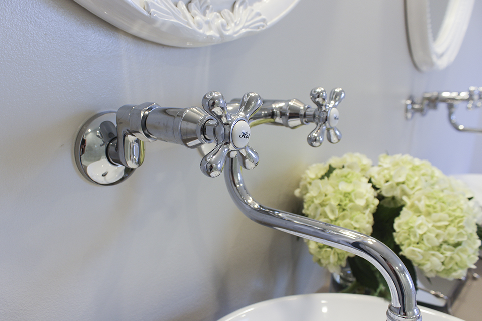 Kingston Brass Victorian Wall Mounted faucet with cross handles