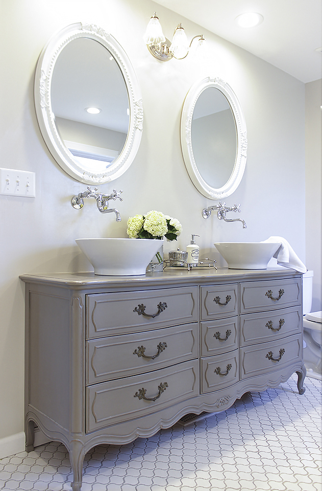 Stunning Bathroom Tour Dresser Into Double Vanity