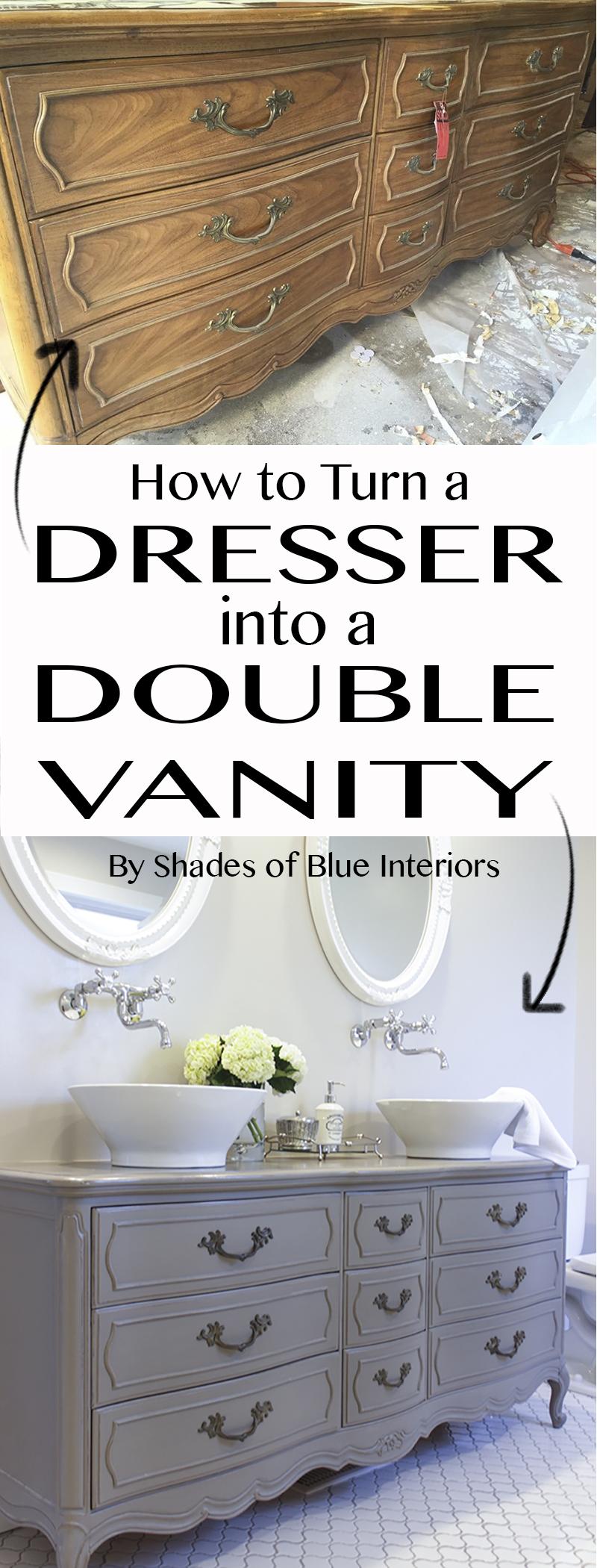 Stunning Bathroom Tour Dresser Into Double Vanity
