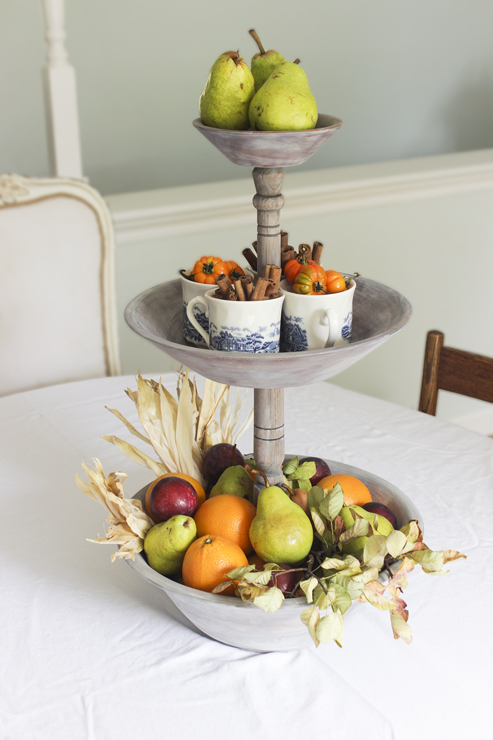 DIY Wooden Carved Tiered Tray
