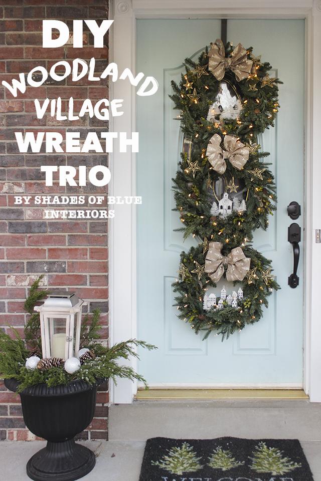 DIY Woodland Village Wreath Trio