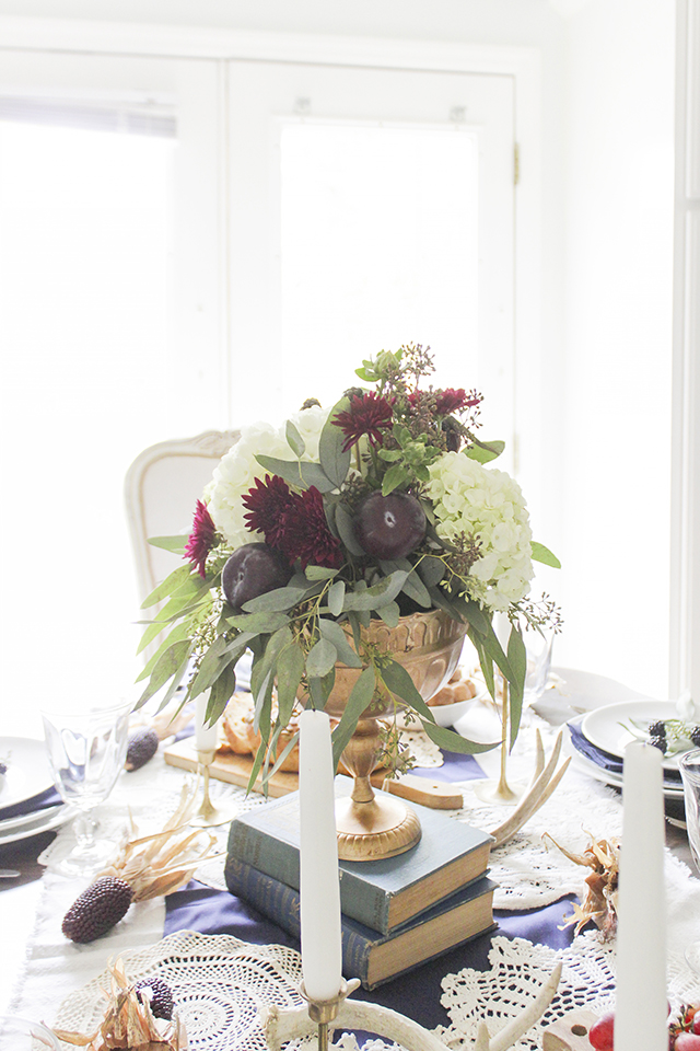 Thanksgiving Tablescape In Navy Burgundy And Gold