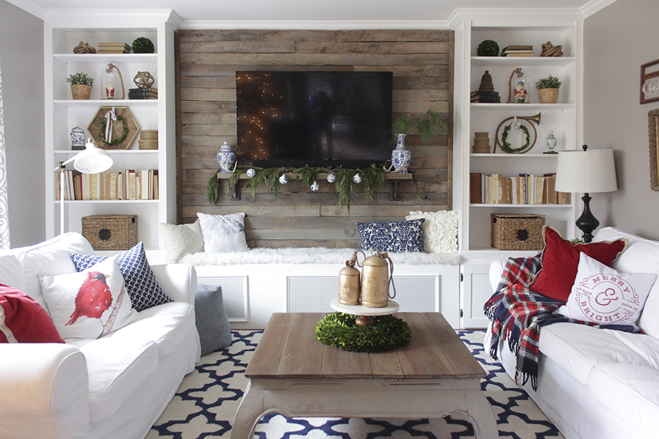 Christmas Living Room With Bookcases Converted Into Built Ins