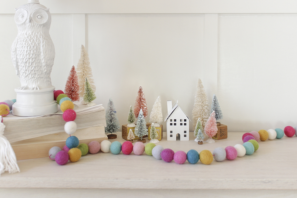 Colorful Christmas Village in a little girl's room