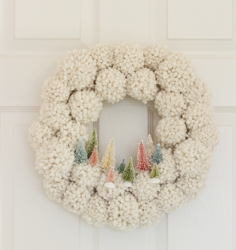 Bottle Brush Tree PomPom Wreath