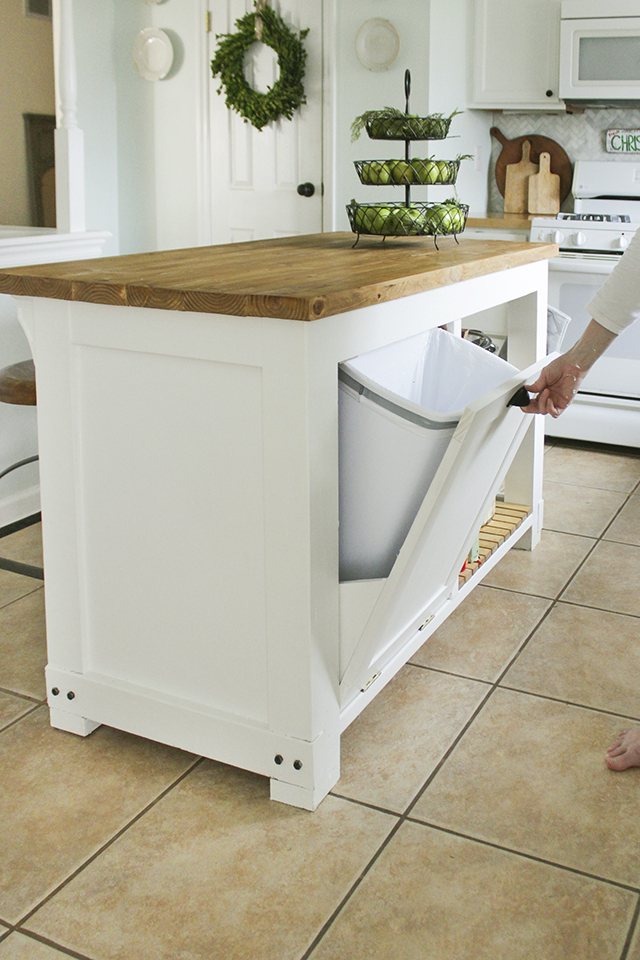 Diy kitchen island with trash storage shades of blue interiors diy kitchen island solutioingenieria Image collections