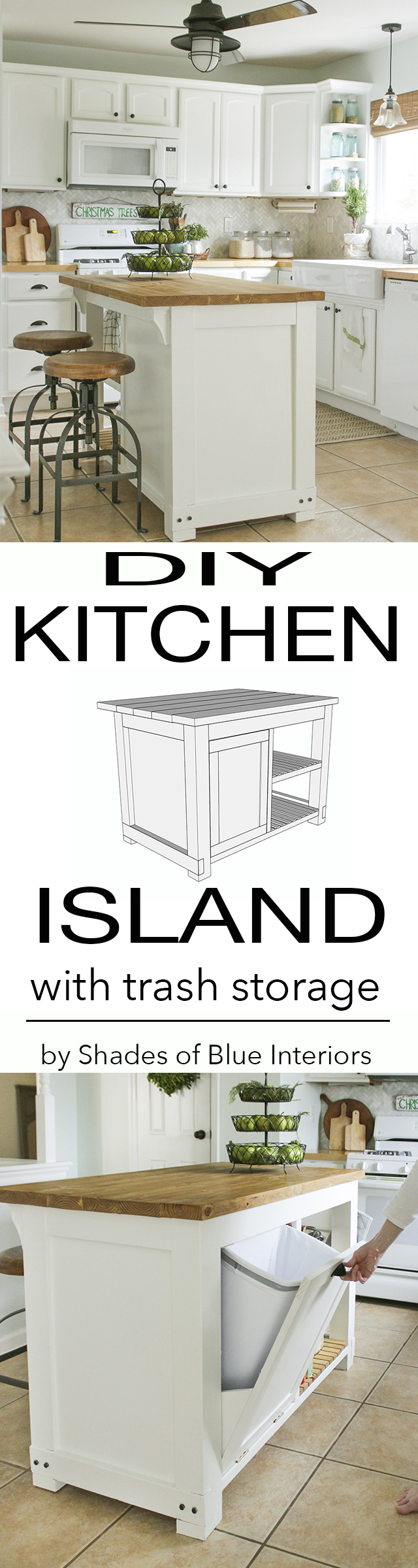 trash with hidden island also kitchen white storage plus bin can