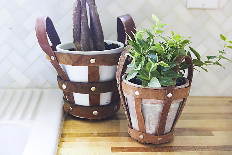 Upcycled Leather Belt Planter Holder