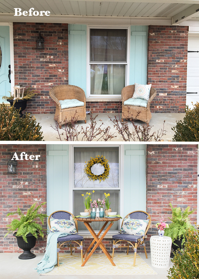 Before and After of Spring Porch Refresh