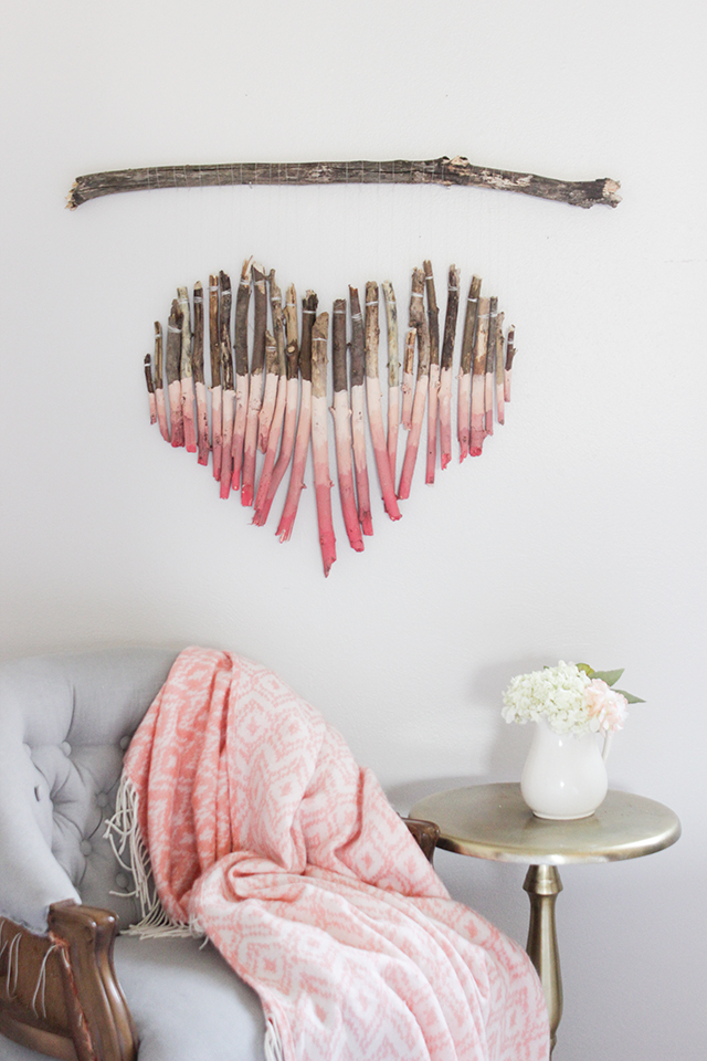 Heart Wall Art from branches with a dipped ombre design