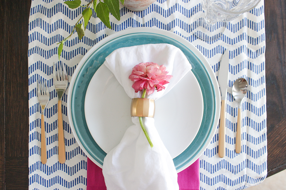 Blue, Teal, Pink and Gold Place Setting