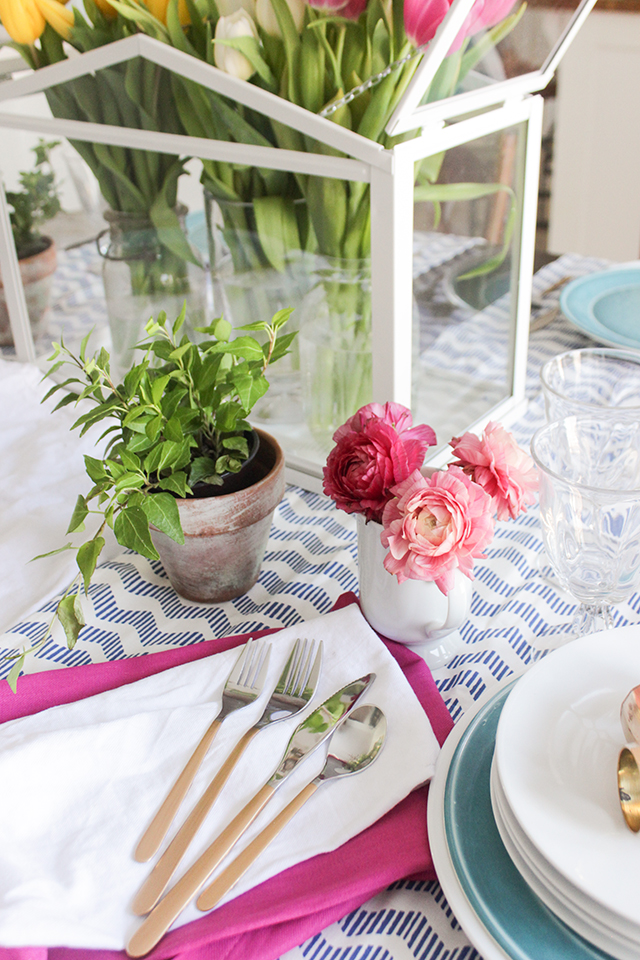 DIY Gold Dipped Flatware with Spring Flowers