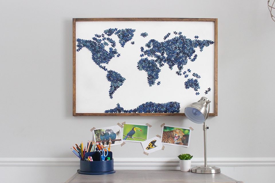 Map Wall Art created from upcycled puzzle pieces