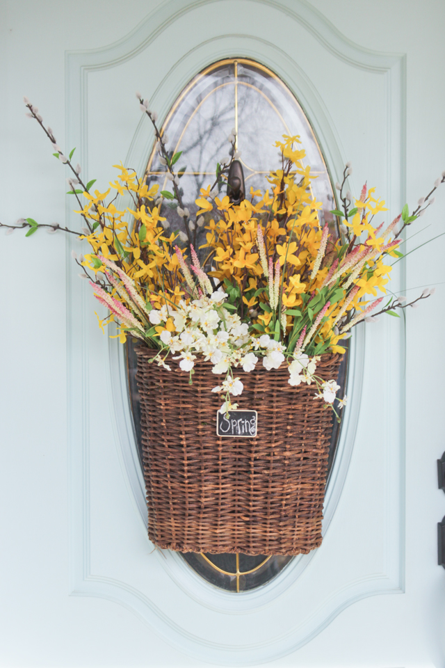 Spring Hanging Basket with Forsythia