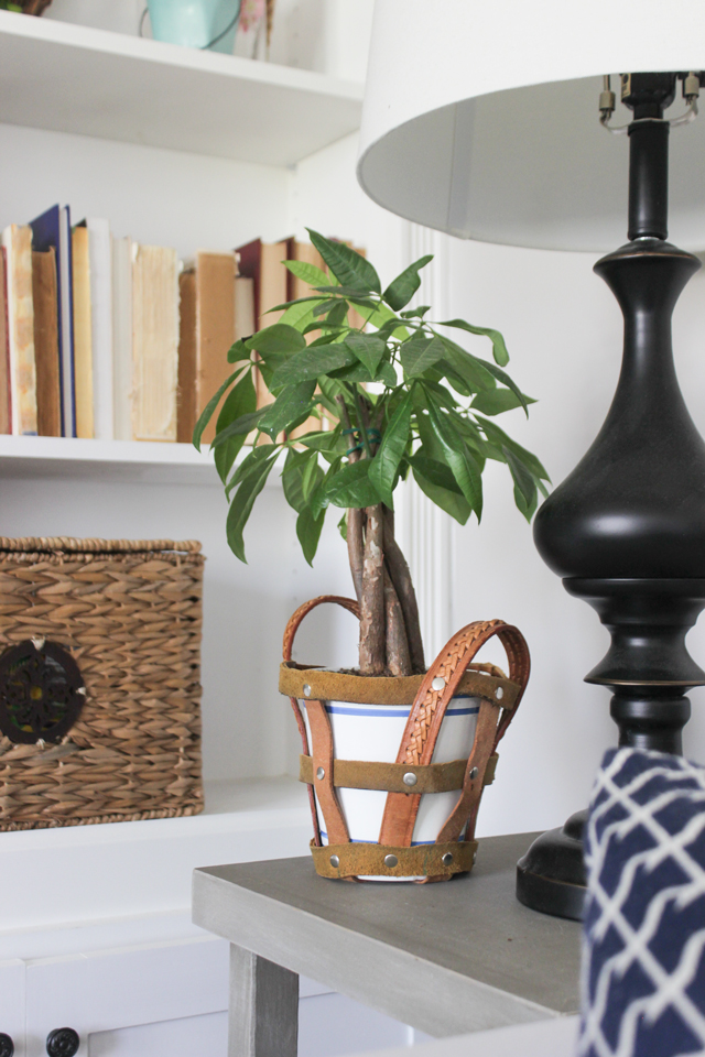 Spring Home Tour- Leather planter holder