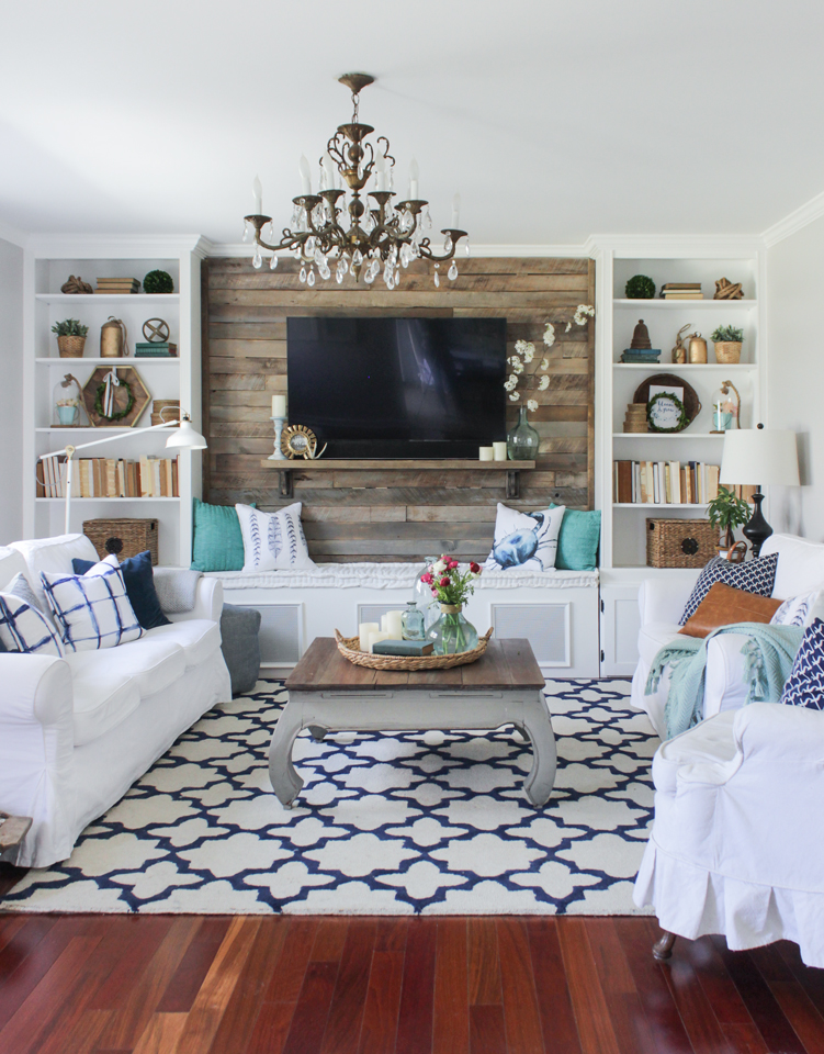 Cozy Spring Home Tour- Living room with blue and white