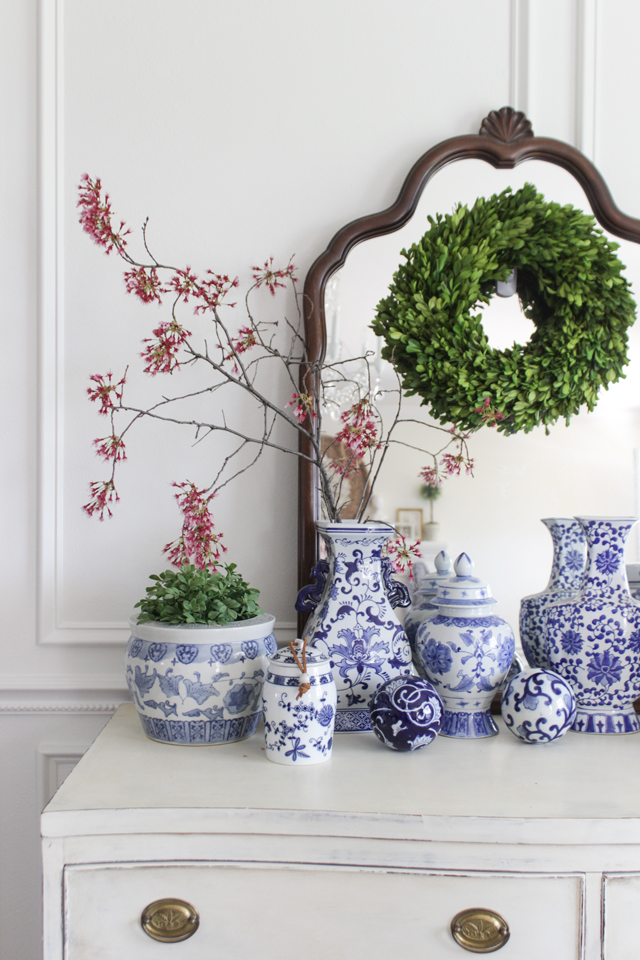 Cozy Spring Home Tour - Chinoiserie vase collection