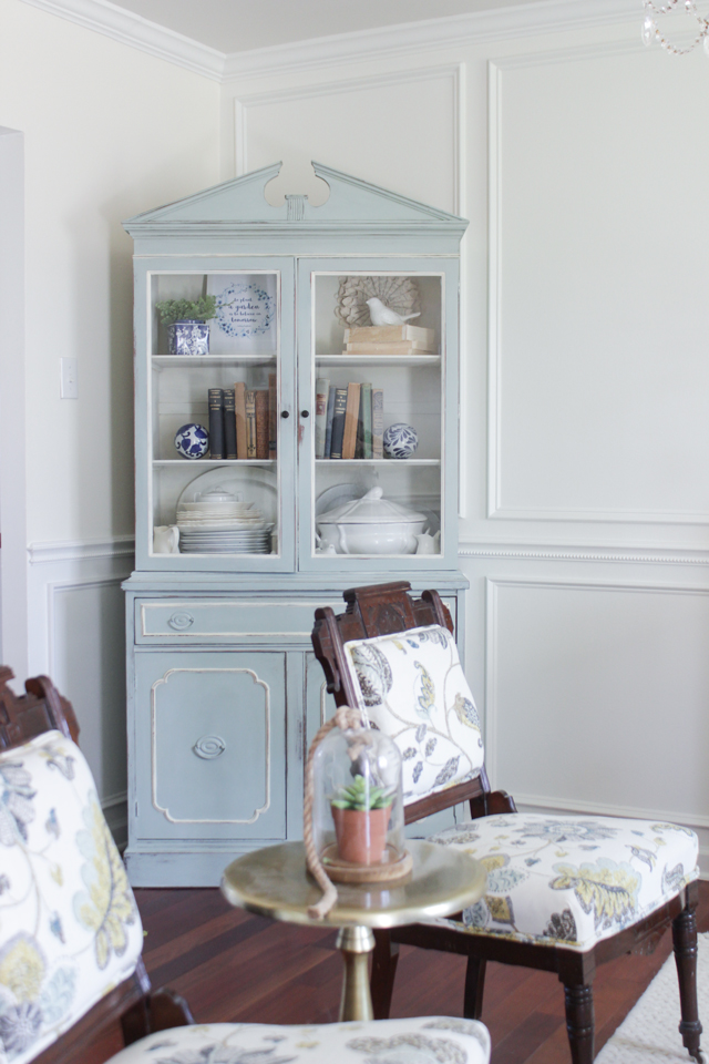 Cozy Spring Home Tour - Corner Cabinet and floral eastlake chairs