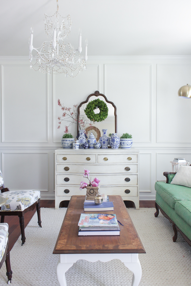 Cozy Spring Home Tour - Chest with Chinoiserie vase collection