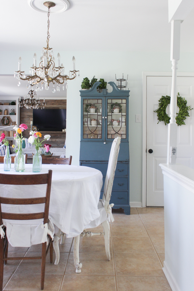 Cozy Spring Home Tour- Dining room, blue secretary cabinet