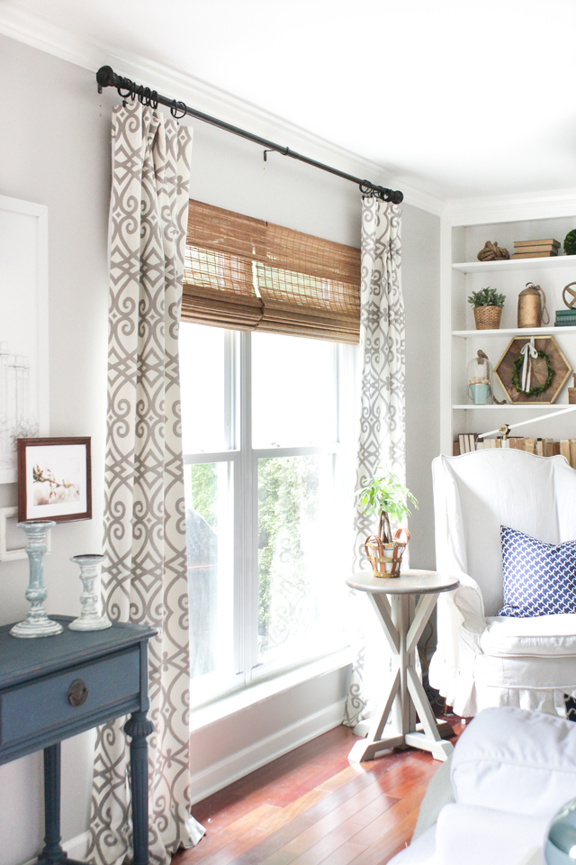 Inside mount SelectBlinds bamboo shades living room window